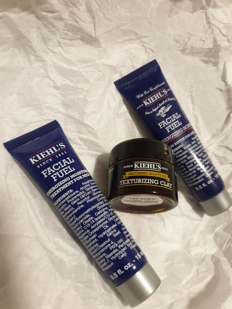 KIEHLS men's set facial fuel moisturiser scrub and hair clay