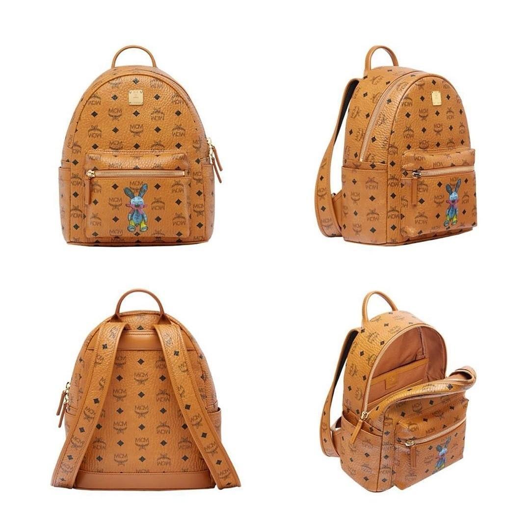 MCM SMALL STARK CLASSIC RABBIT BACKPACK IN VISETOS 33x27CM COGNAC
