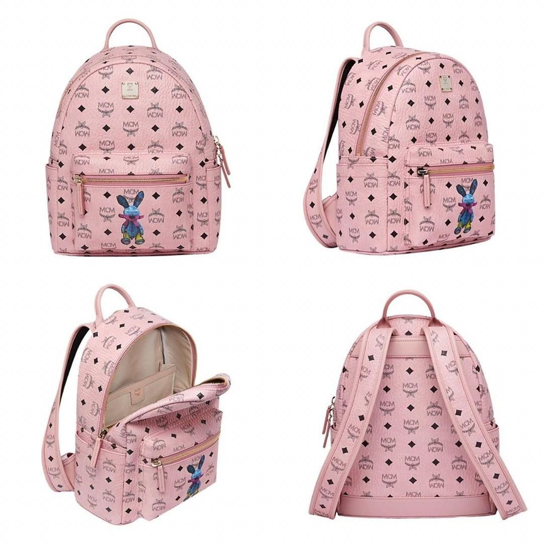 MCM SMALL STARK CLASSIC RABBIT BACKPACK IN VISETOS 33x27CM SOFT PINK