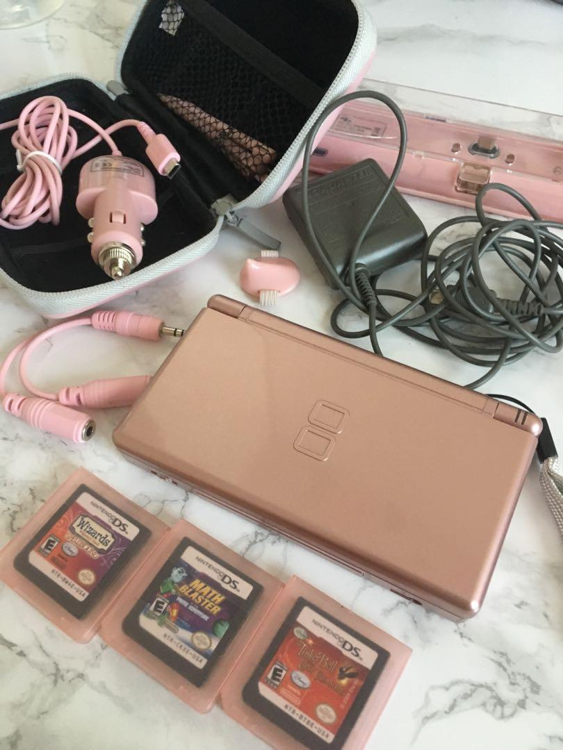 Metallic Rose Nintendo DS Lite w/ everything in the picture
