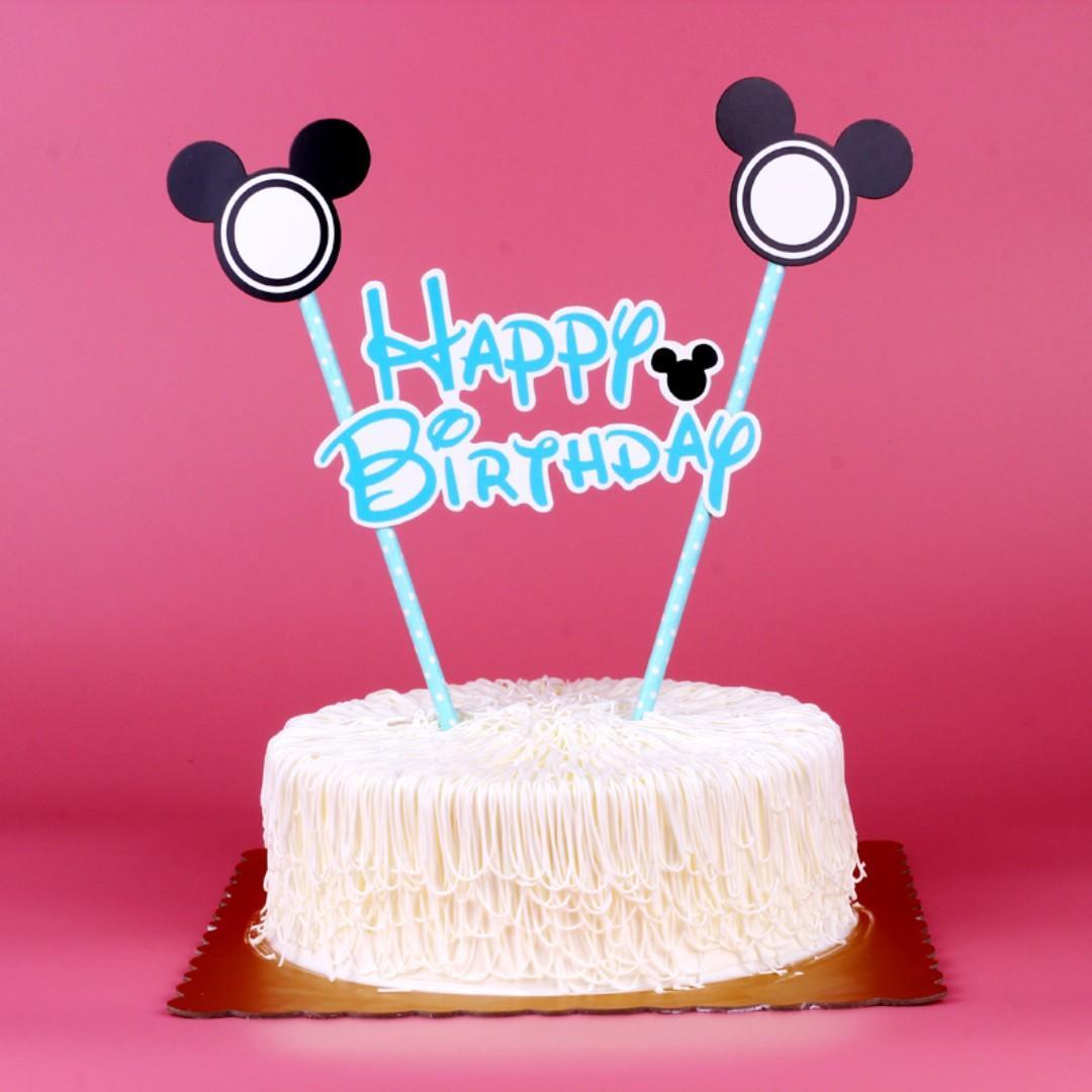 Astonishing Mickey Minnie Mouse Happy Birthday Cake Topper Design Craft Personalised Birthday Cards Vishlily Jamesorg