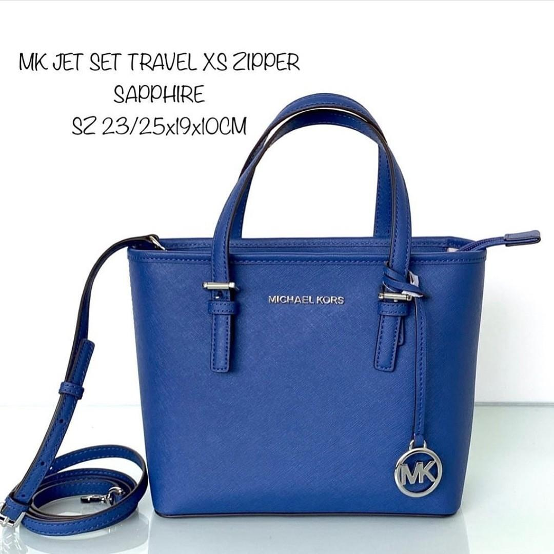 MK JET SET TRAVEL TOTE EXTRA SMALL With LONG STRAP SZ 23/25x19x10 SAPPHIRE