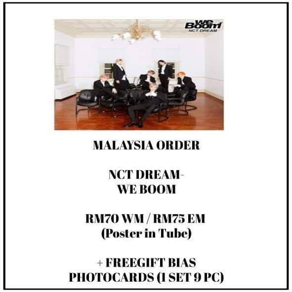 NCT DREAM - WE BOOM - PREORDER/NORMAL ORDER/GROUP ORDER/GO + FREE GIFT BIAS PHOTOCARDS (1 ALBUM GET 1 SET PC, 1 SET HAS 9 PC)
