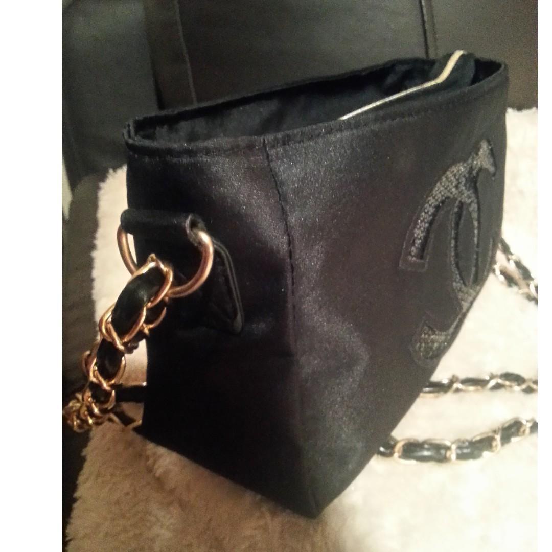 New Black Chanel VIP Gift Sequin Shoulder/Cross Body Bag.