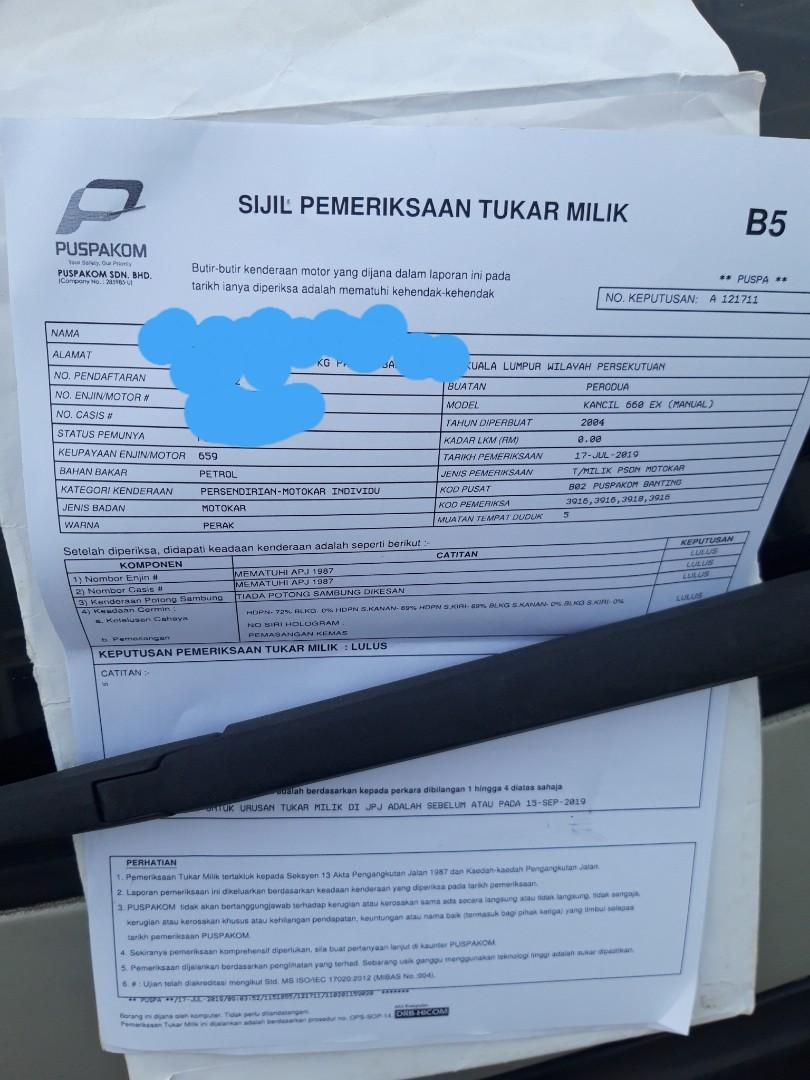 RUNNER PUSPAKOM TUKAR NAMA/B5/ROADTAX MATI/INTERCHANGE/SEWA BELI
