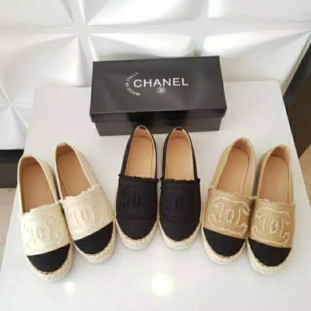 sepatu Chanel Espadrilles flat shoes mirror premium import #joinjuli