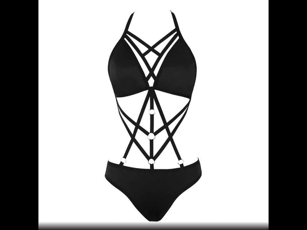Sexy Erotic Strapped Black Bra&Panty Bodysuit Lingerie Swimsuit