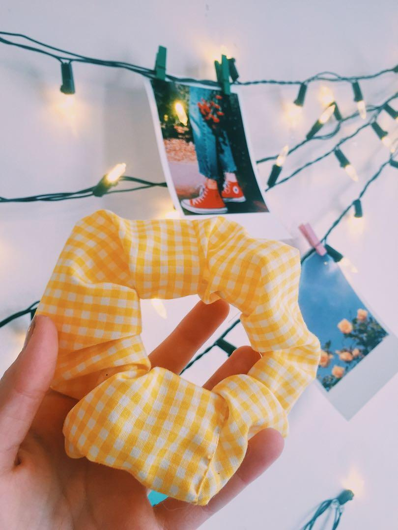 Yellow gingham scunchie