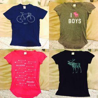 🚚 二手A&F 短袖T-shirt 四件組(八至九成新)