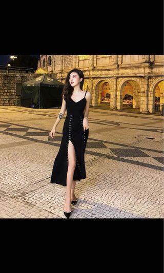 Black Dress Adjustable Slit