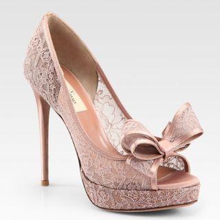 🍎Valentino 米白色蕾絲露趾 魚口高跟鞋 前高後高 防水台 拍照鞋 婚鞋 伴娘