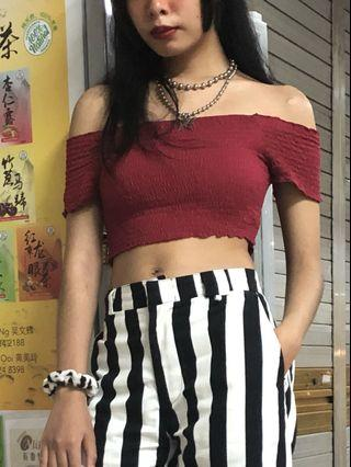 maroon off shoulder smocked crop top