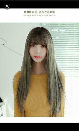 (NO INSTOCKS!)Preorder korean air bangs long straight full head wig*waiting time 15 days after payment is made*chat to buy to order