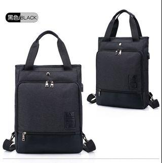 【Q夫妻】Backpack 韓版 連接USB充電接口 手提雙肩兩用包 後背包 電腦包 黑色  #B1002-2