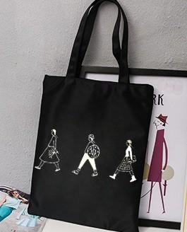 🚚 【Q夫妻】Shoulder Bag 簡約 帆布包 手提包 購物包 單肩包 黑色三人款  #B0014-2 #一百元好物 #一百均價