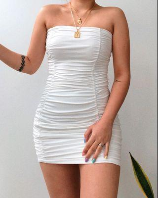 White bandeau dress