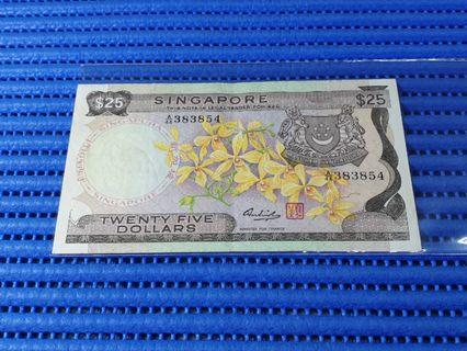 Singapore Orchid Series $25 Note A/44 383854 Nice Prosperity Number Dollar Banknote Currency