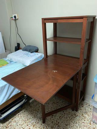 Solid wood shelf with folding table