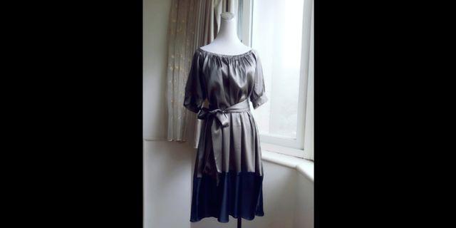 DKNY 優雅 繫帶絲質洋裝