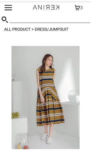 Anirek薛妞太妃糖條紋配色洋裝