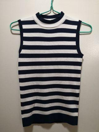 (2 for $8) Mds navy white stripes knit top