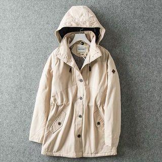 冬季中長款連帽鈕扣拉鍊外套