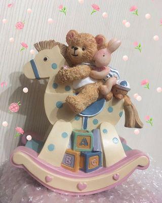 ⏰限時出清免運~居家擺飾雜貨  手繪風 童趣熊熊木馬音樂鈴