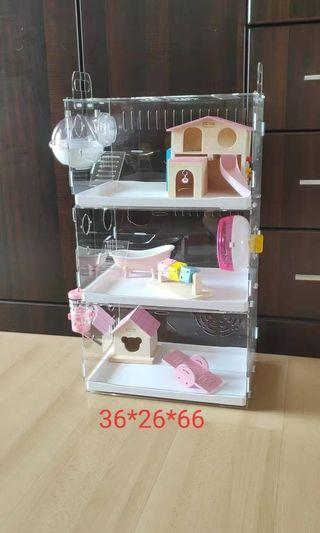 Acrylic hamster 3 tier cage with drawers