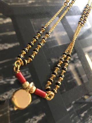 Indian gold plated black beads chain