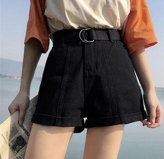 Black High Waist Shorts with Belt