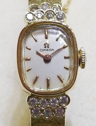 古董上鏈14K真金真鑽石女庄錶