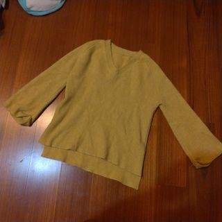 🚚 芥末黃粗針織反摺長袖