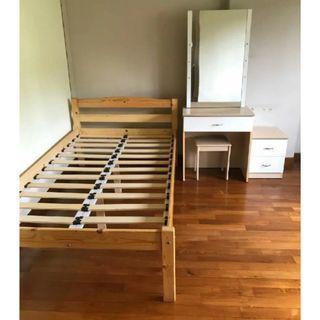 Dressing Table & Bed frame (1 set) for $150