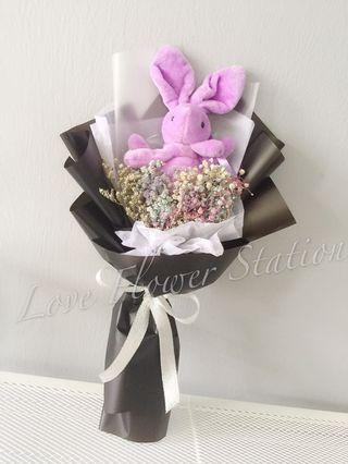 Rabbit toy With Dried Baby Breath Bouquet/Graduation Flower Bouquet/ Birthday Flower Bouquet/ Teachers Day Flower Bouquet