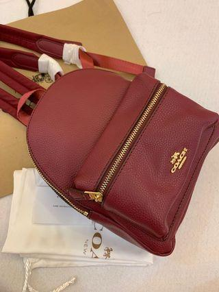 Ready Stock Authentic coach mini Charlie backpack 🎒 in wine red