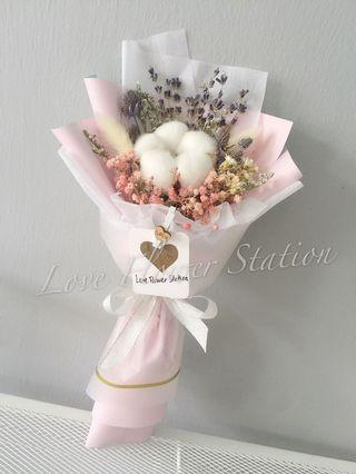 Cotton & Lavender With Dried Flower Bouquet/ Graduation Flower Bouquet/ Birthday Flower Bouquet/ Teachers Day Flower Bouquet
