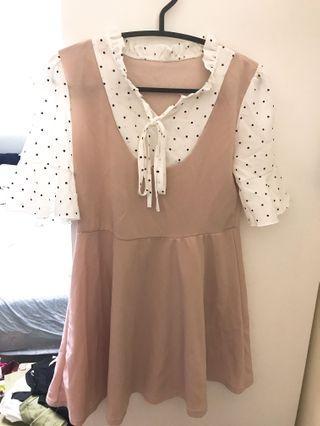 韓版圓點粉洋裝