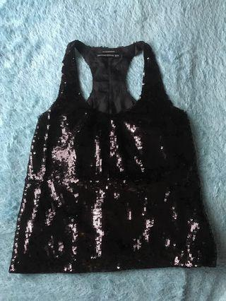Black Sequin Top Size XS fit to M