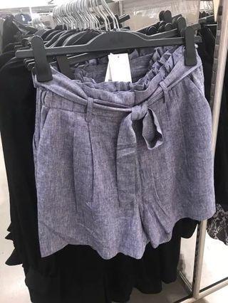補實穿照OshareGirl 07 歐美女士復古調棉麻混紡短褲綁帶高腰短褲