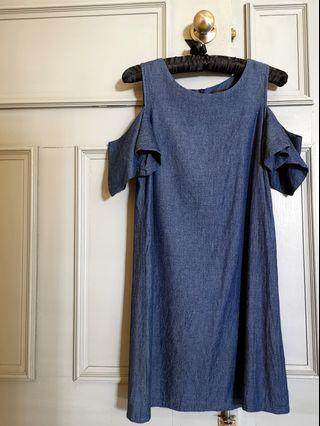 Ninth Collective Denim Off/ Cold Shoulder Dress