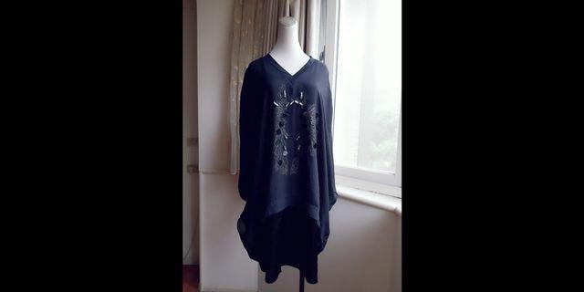 設計師VERNA 假兩件 縫珠寬鬆雪紡洋裝