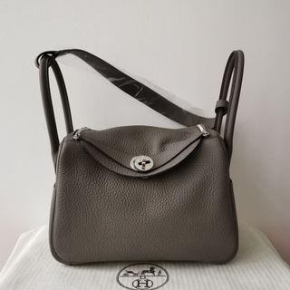 New Hermes Gris Etain Clemence Lindy 26 PHW stamp C