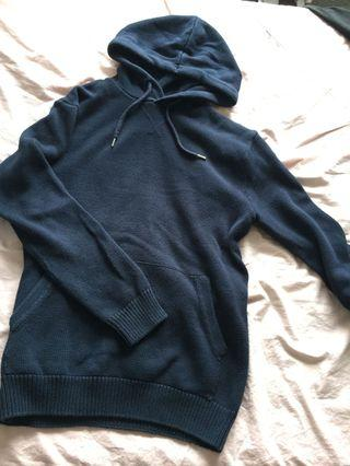 Oversized Knit Navy Hoodie