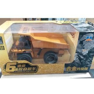 RC car HUINA 1540 1:18 2.4G Alloy Remote Control Dump Truck 6 Channel Buggy Children Toy (USB)