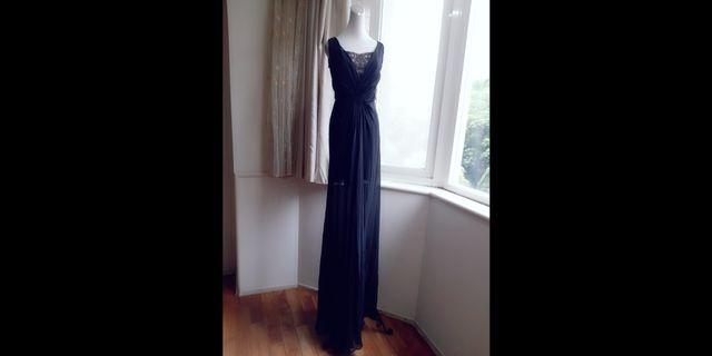 iROO伊洛名品 超長版 Party宴會禮服蕾絲雪紡長洋裝