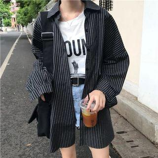 oversized striped outer wear.