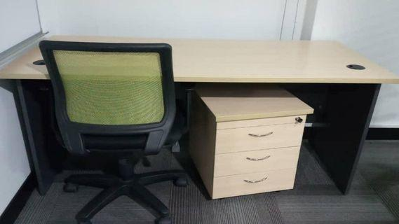 5ft Office Table & Cabinet Pedestal (1 set)