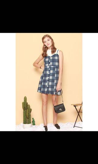 [BNWT] Anticlockwise Blue Checks Checkered Dress with Adjustable Straps