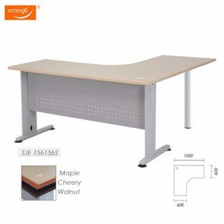 L Shape writing table with metal leg and Pedestal