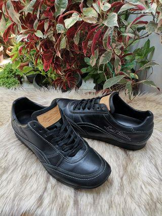 Authentic Louis Vuitton Black Leather Unisex Sneakers Size 5.5 Also fits size 7.5 Mens Size and size 9 Womens Size
